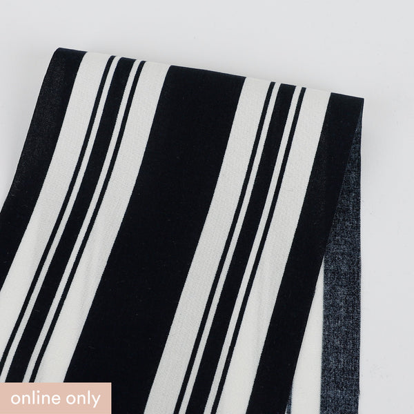Awning Stripe Rayon Challis - Midnight