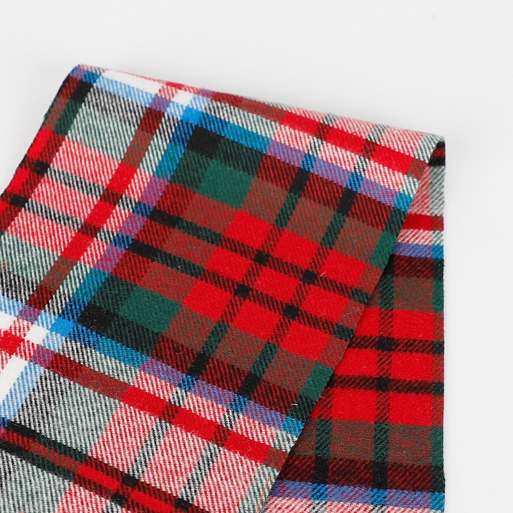 Brushed Cotton Twill Plaid - Red / Green / White