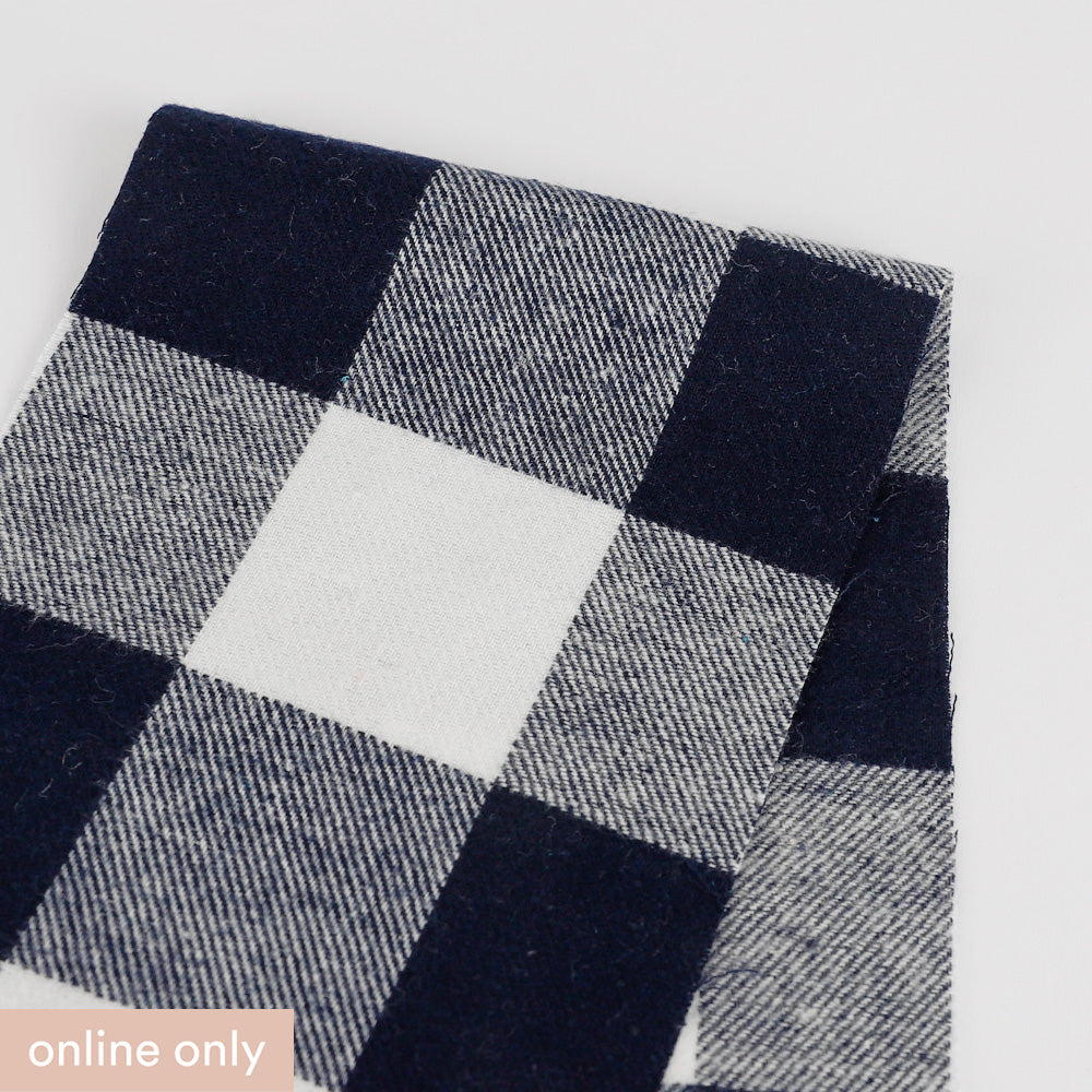Brushed Gingham Twill Cotton - Navy