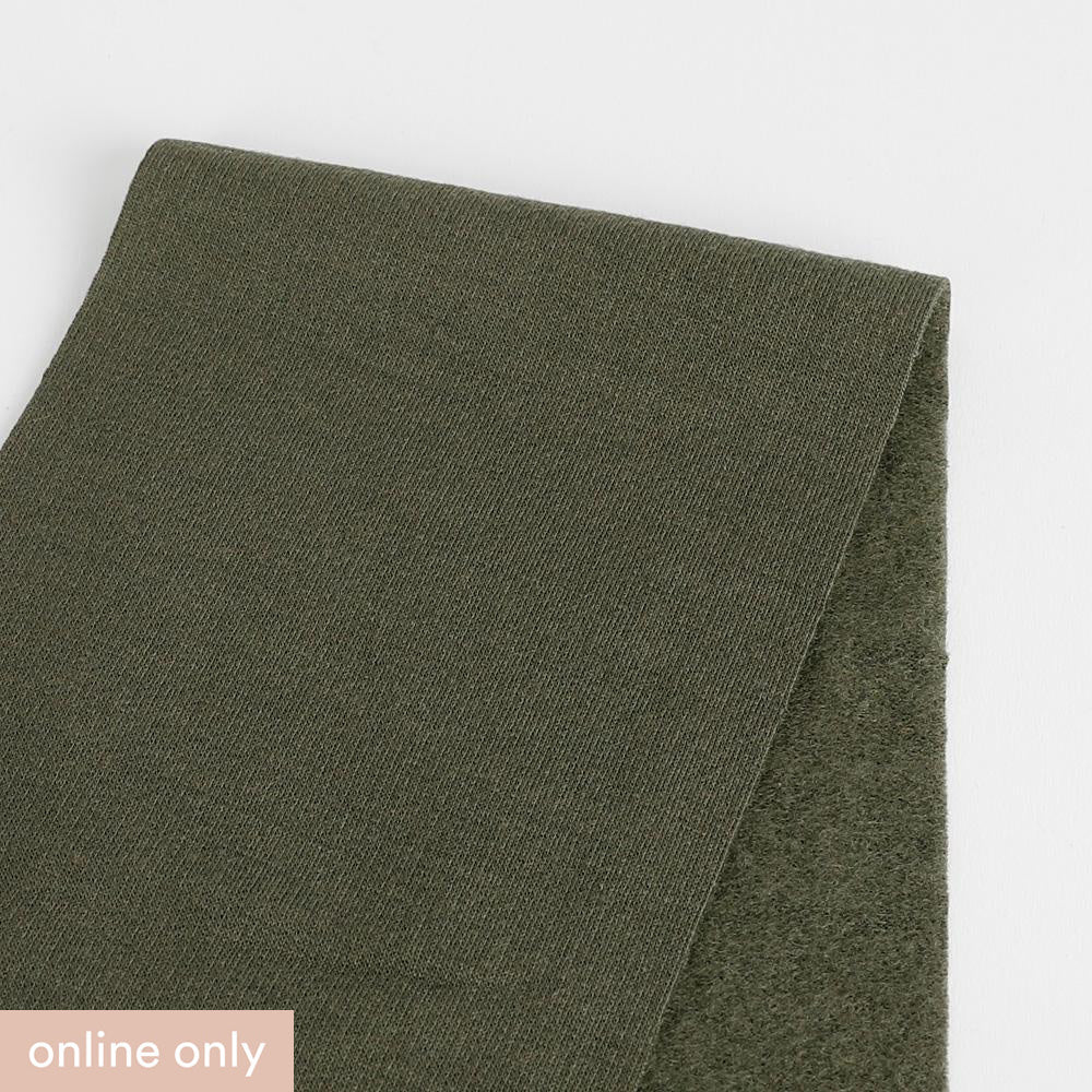 Brushed Merino / Poly Sweatshirting - Khaki