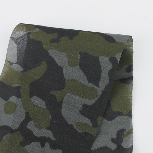 Camo Cotton / Silk Voile - Green