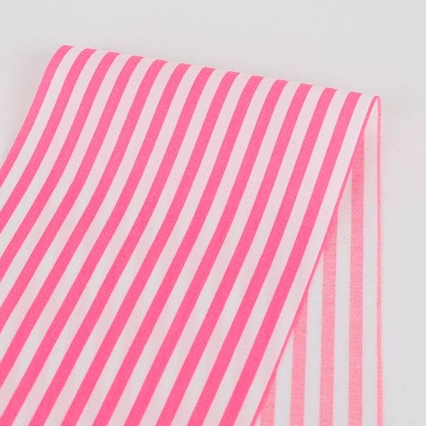 Candy Stripe Cotton - Fluro Pink
