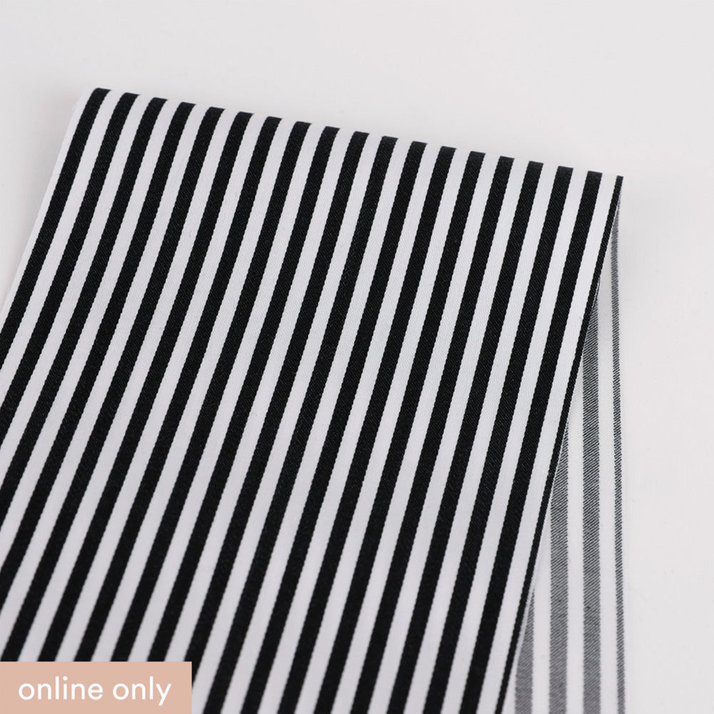 Candy Stripe Cotton Sateen - Black