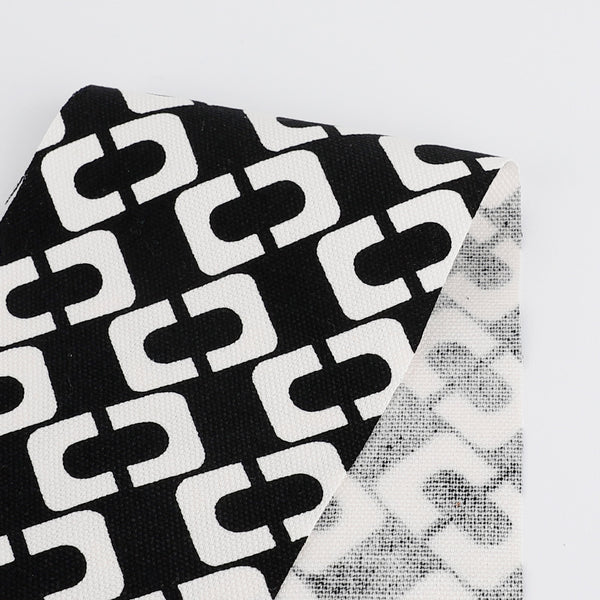 Chain Print Linen / Cotton Canvas - Black