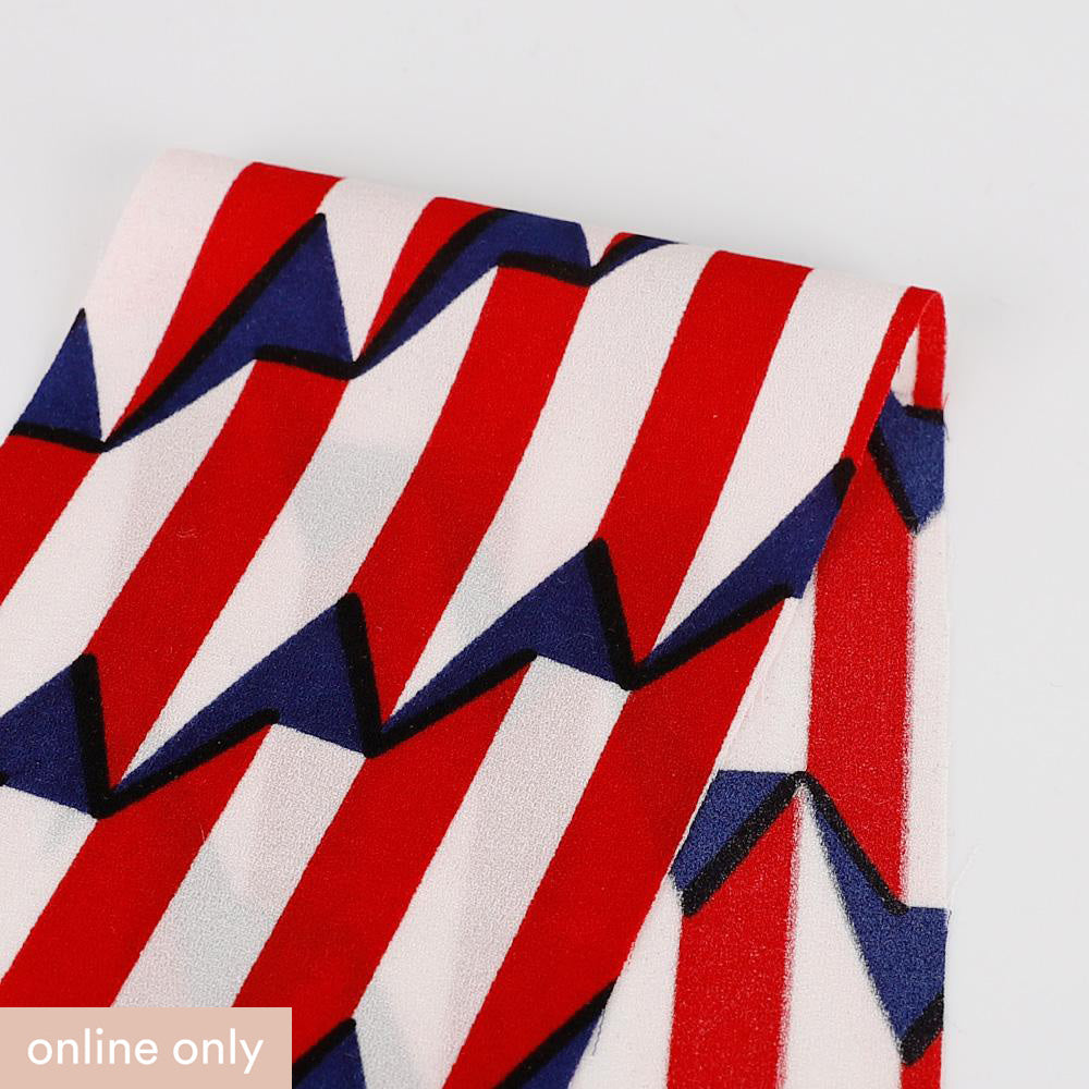 Circus Geo Stripe Crepe - Red - Buy online at The Fabric Store
