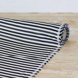 Weft Stripe Cupro Satin - Black / White - buy online at The Fabric Store