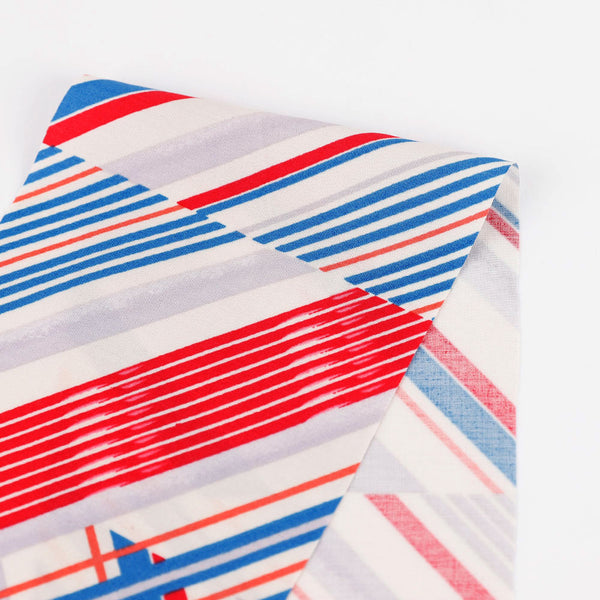 Diagonal Multi Stripe Rayon Challis - Red / Blue