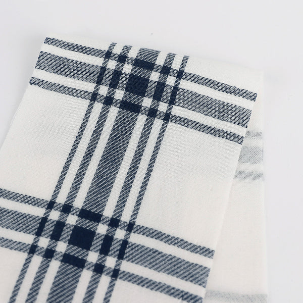 Backed Twill Check Cotton - Navy
