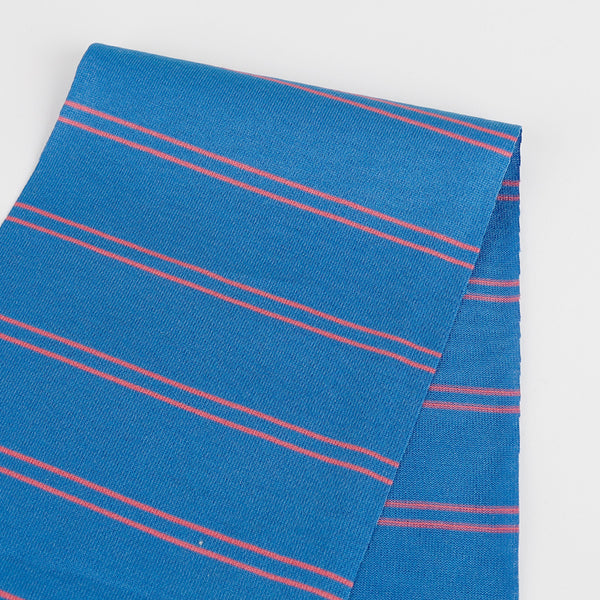 Double Stripe Cotton Jersey - Blue / Lipstick