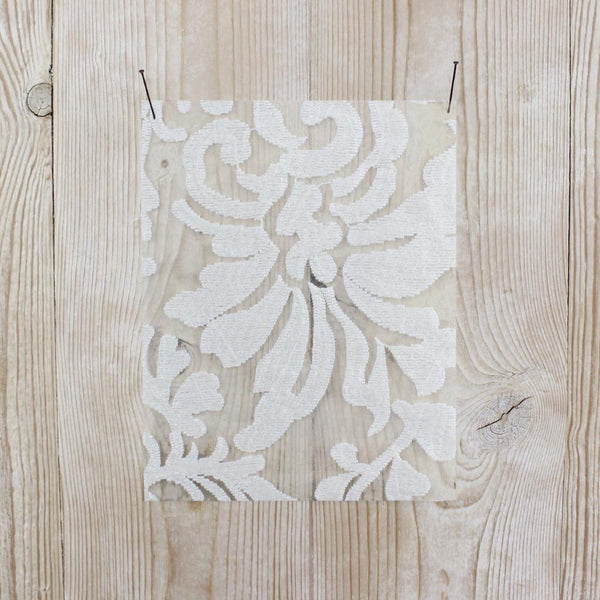 Related product : Floral Fronds Embroidered Organza - White