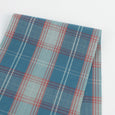 Faded Herringbone Cotton Plaid - Blue / Pink