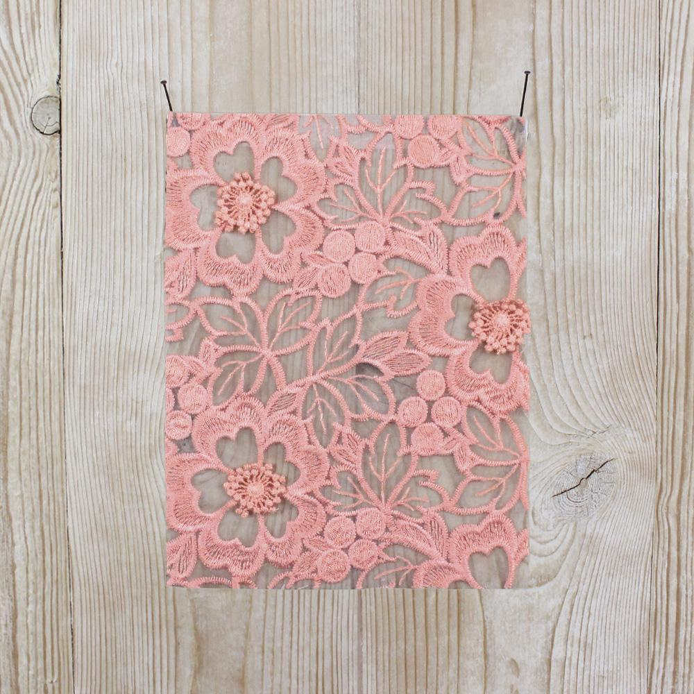 Floral Embroidered Organza - Peach