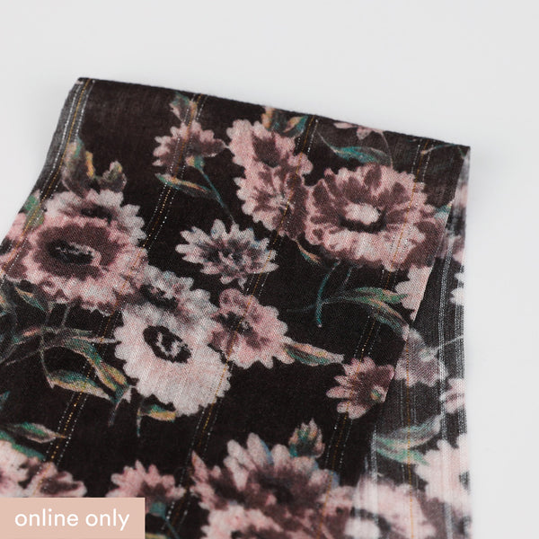 Related product : Metallic Stripe Daisy Print Rayon - Pink / Black
