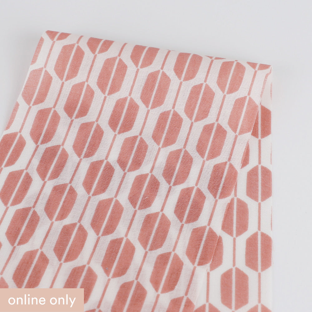 Geometric Seedpod Cotton - Rose