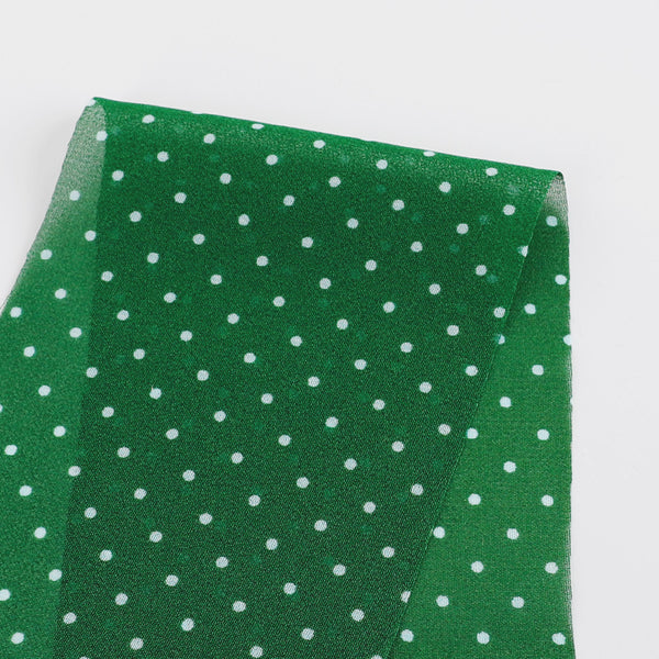 Little Polka Dot Viscose Georgette - Emerald