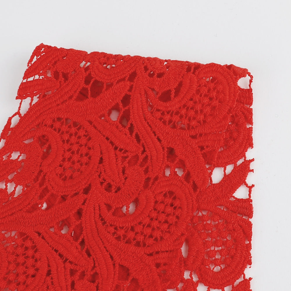 Guipure Cotton Lace - Red