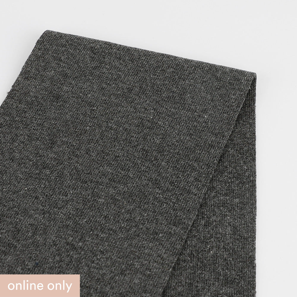 Heavyweight Stretch Cotton 1x1 Rib - Gunmetal