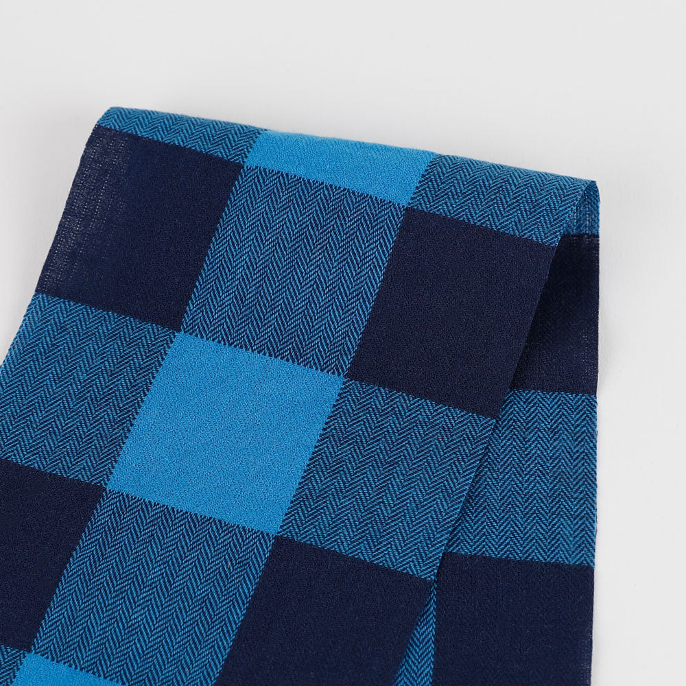 Herringbone Cotton Gingham - Blue
