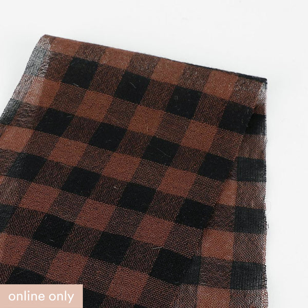 Japanese Gingham Wool / Cotton Gauze - Brown