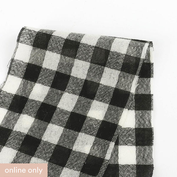 Japanese Gingham Wool / Cotton Gauze - Ivory