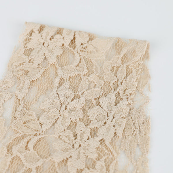Cotton / Nylon Floral Lace - Latte