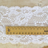 Wide French Stretch Lace Trim - White - buy online at The Fabric Store