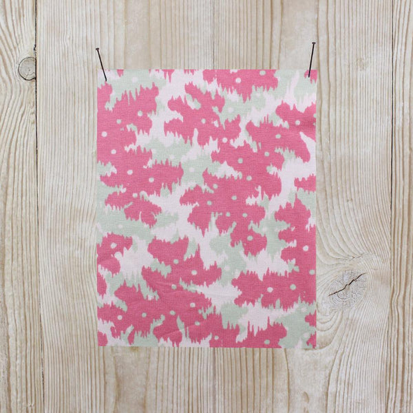 Layered Print Stretch Cotton Jersey - Pink - buy online at The Fabric Store