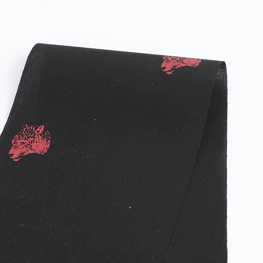 Leopard Stamp Cotton Shirting - Black