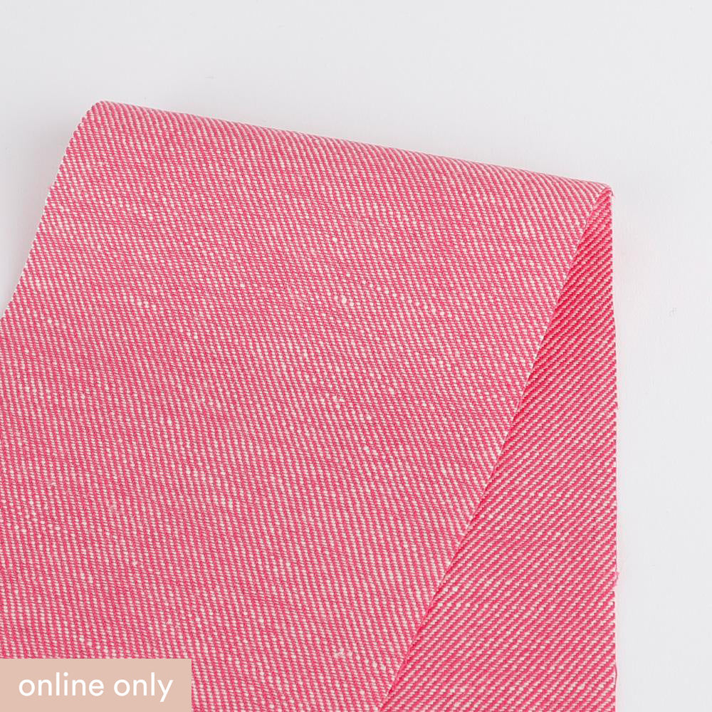 Linen / Cotton Chambray Twill - Hot Pink
