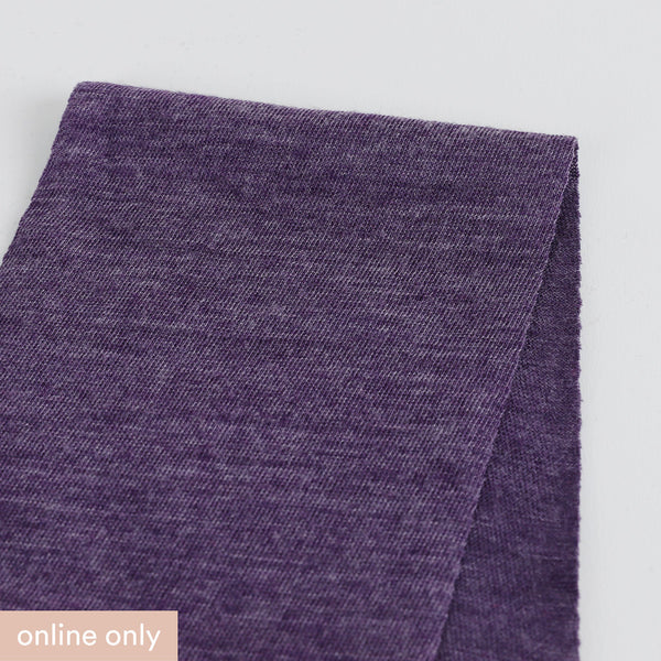 Merino / Poly Diagonal Marle Jersey - Grape