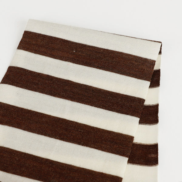 Merino / Tencel  Stripe Jersey - Chocolate / Ivory