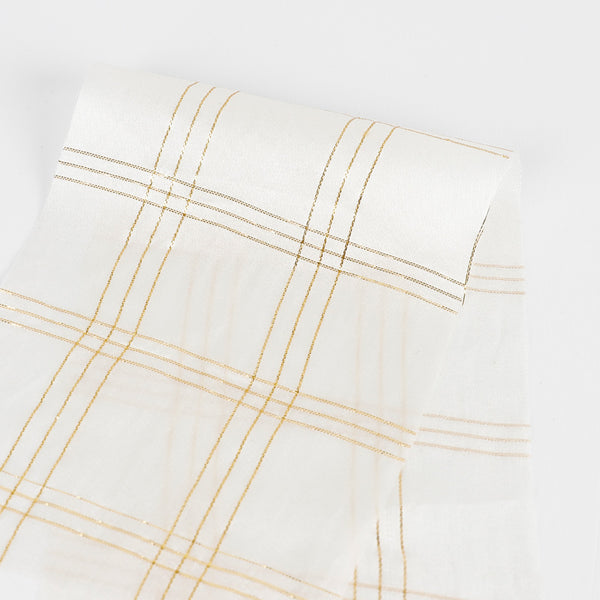 Metallic Check Silk Satin - Ivory / Gold