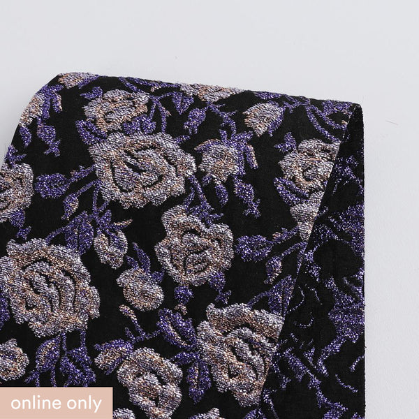 Metallic Rose Cloque Jacquard - Purple - Buy online at The Fabric Store
