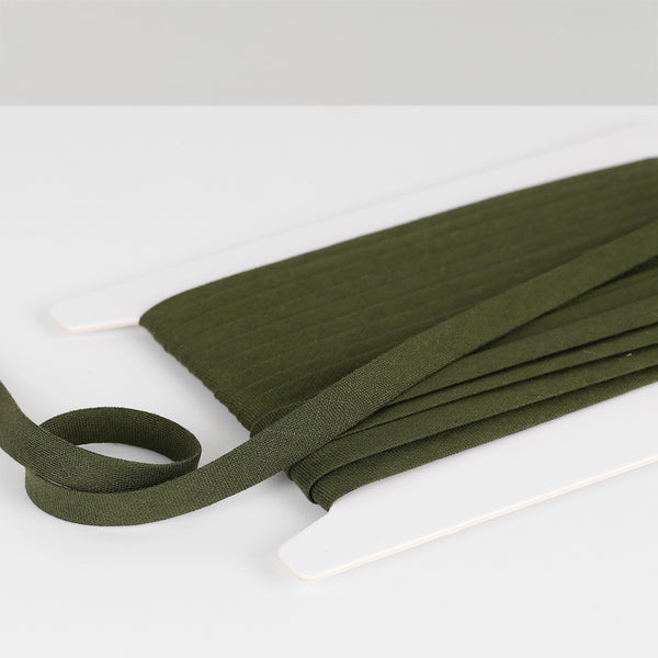 Vintage Finish Linen Bias Binding - Military Green