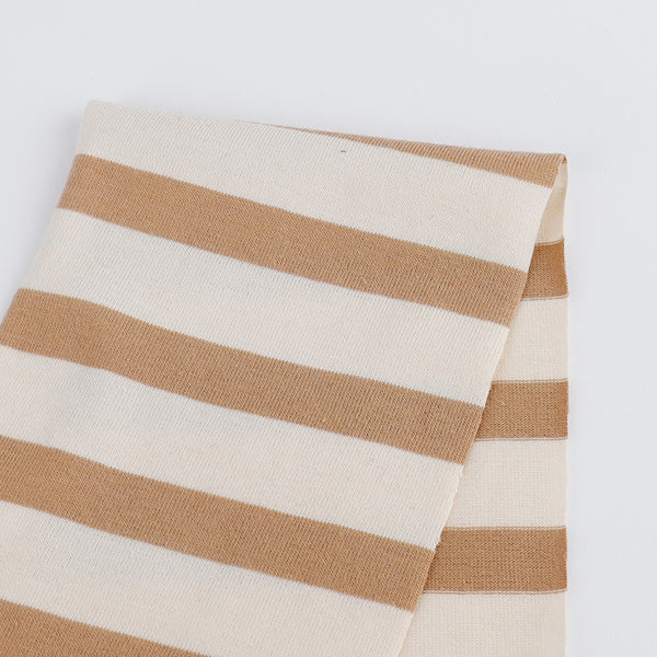 Organic Cotton Stripe Jersey - Buttermilk / Toffee - buy online at The Fabric Store