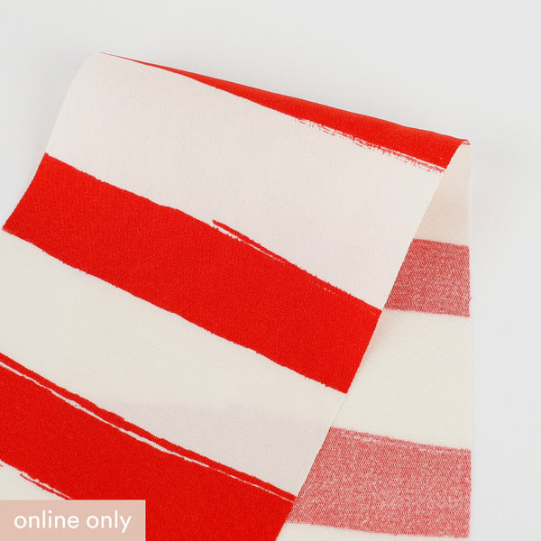 Big Top Stripe Stretch Silk / Viscose - Ivory / Red