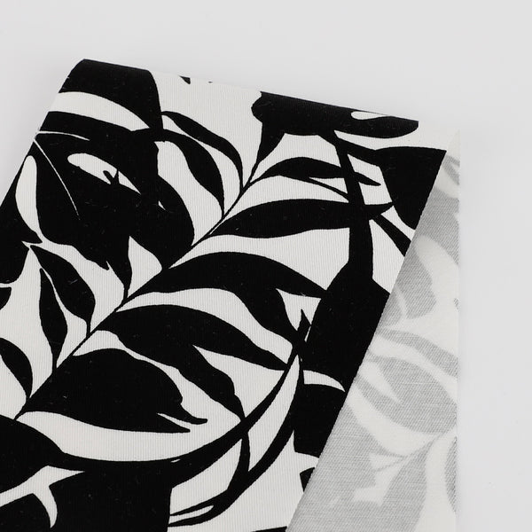 Palm Leaves Silhouette Stretch Cotton Twill  - Black