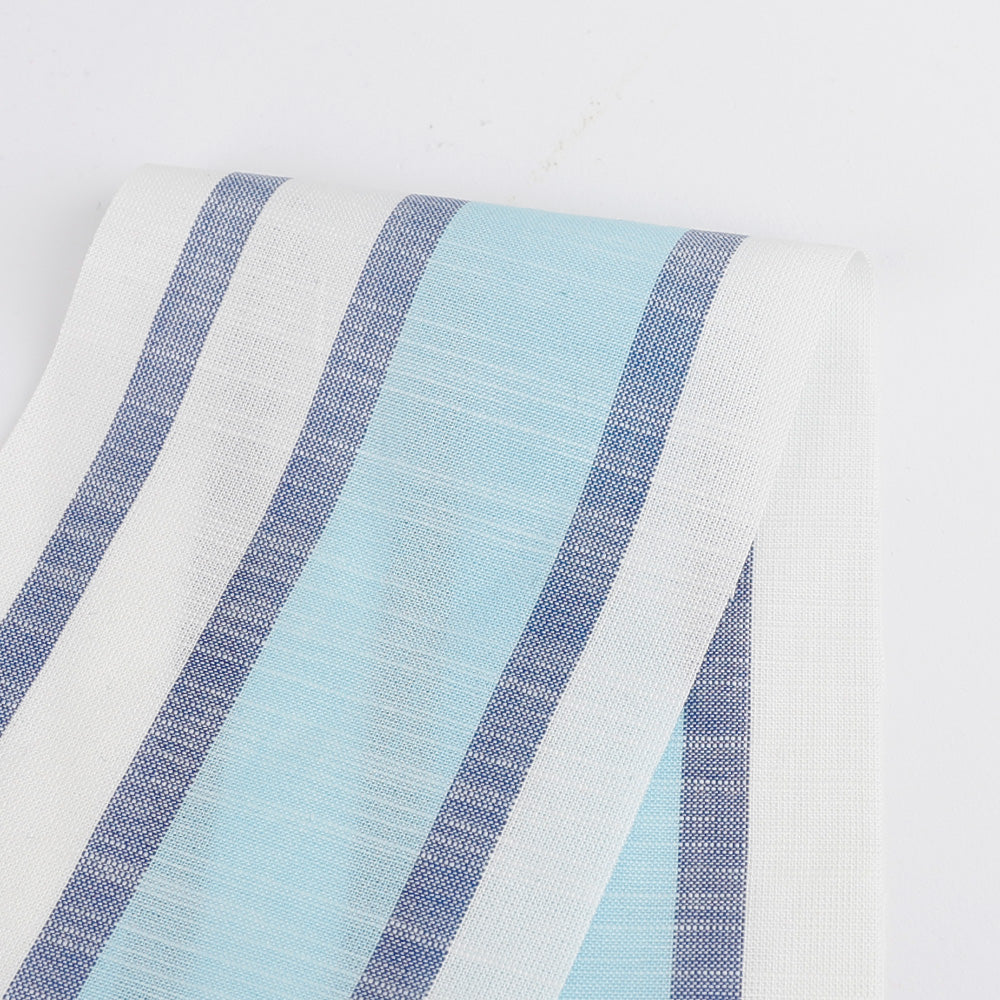 Border Stripe Cotton - Aqua Mix