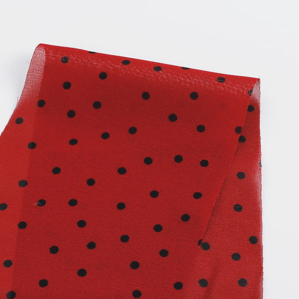 Ladybird Spot Viscose Georgette - Red