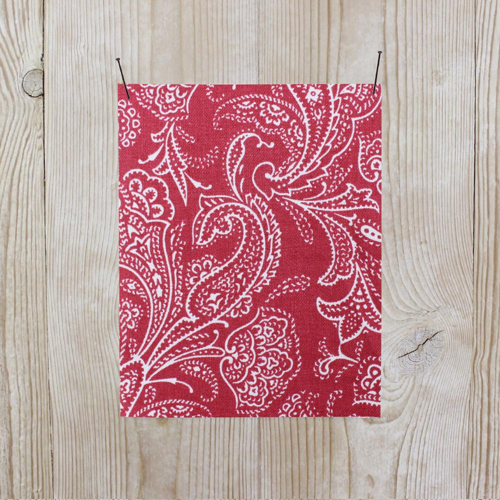 Paisley Linen Twill - Red - buy online at The Fabric Store