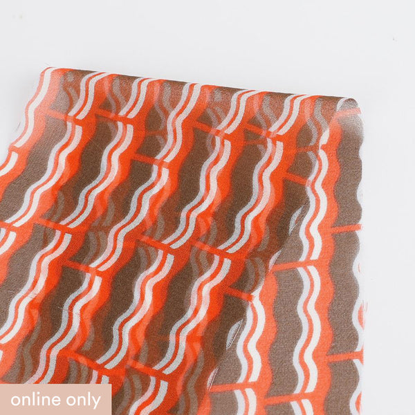 Retro Wave Stripe Silk Georgette - Orange