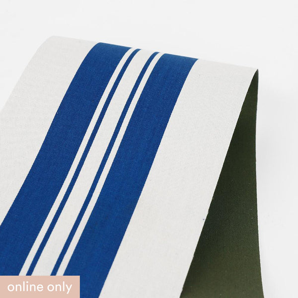 Bonded Awning Stripe Cotton - Blue / White / Forest