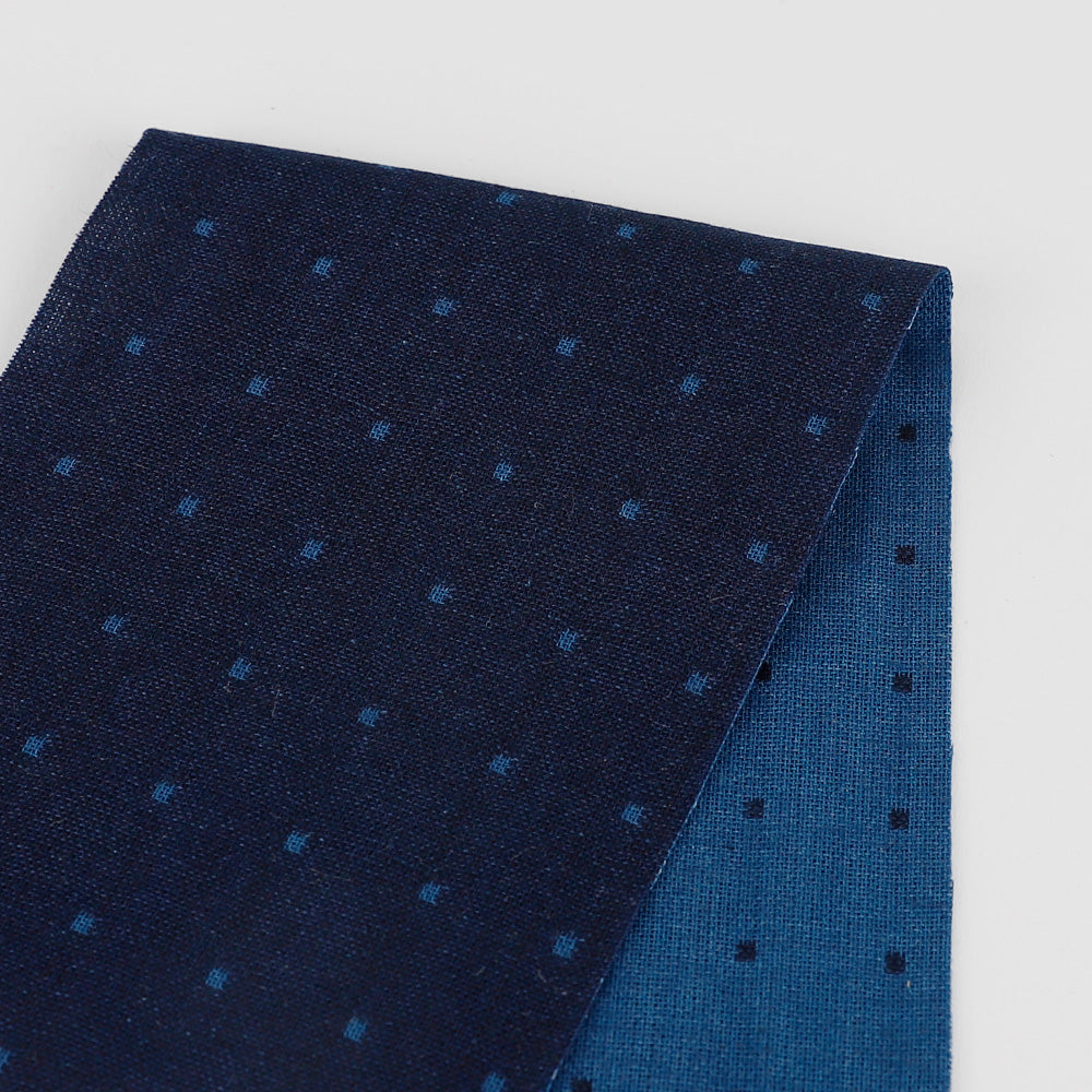 Reversible Micro Square Cotton - Blue