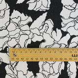 Scribble Floral Print Linen - Black - buy online at The Fabric Store