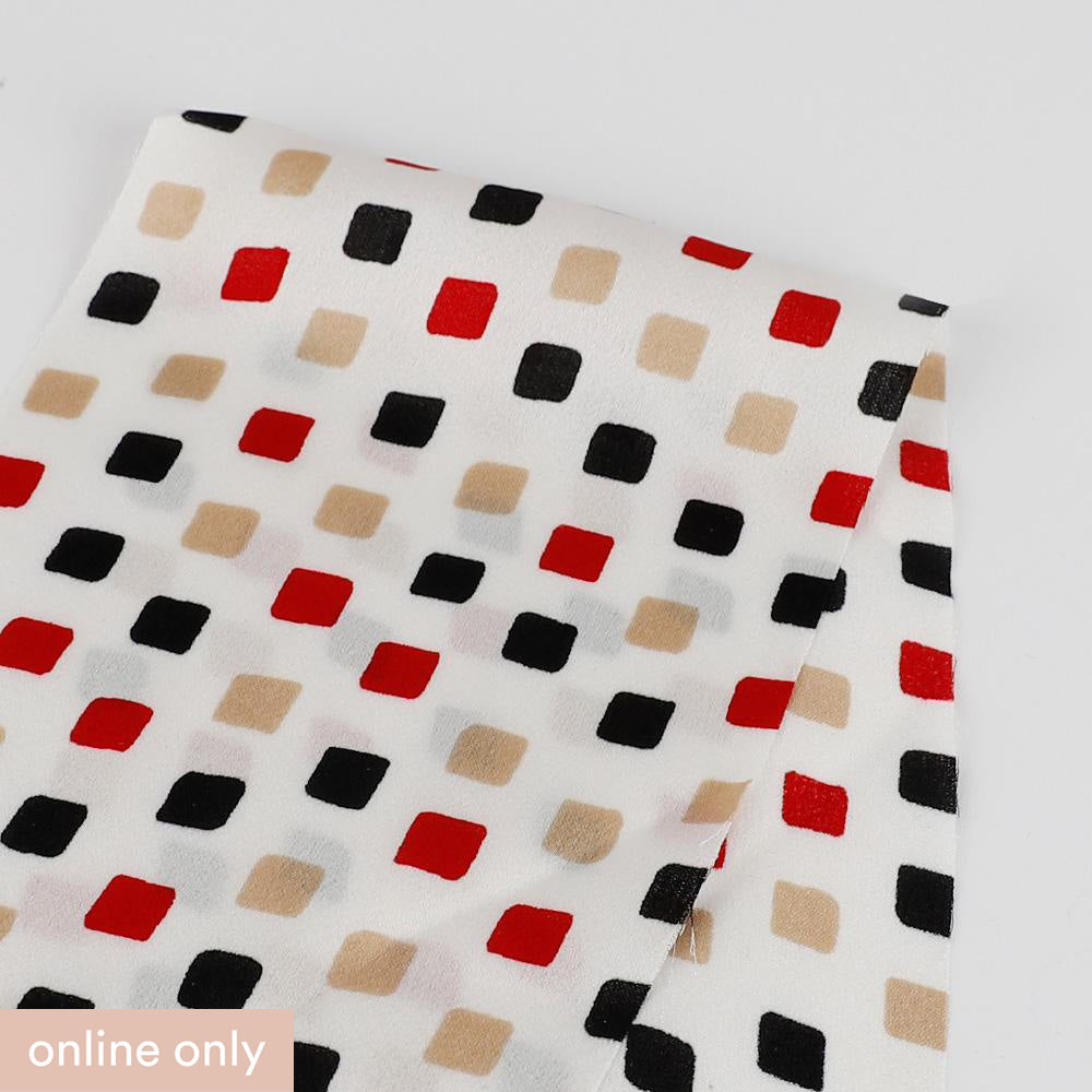 Square Print Poly Satin - Red