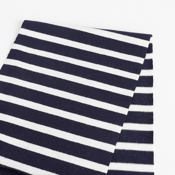 Stretch Bamboo Stripe Jersey - Navy / White