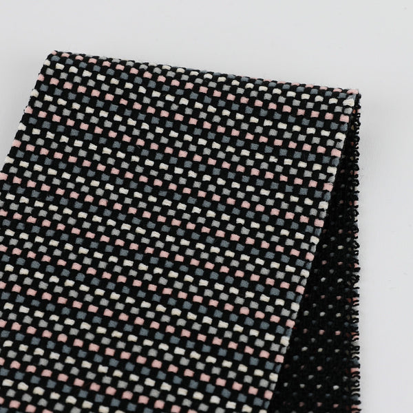 Stretch Basketweave Tweed - Grey / Pink