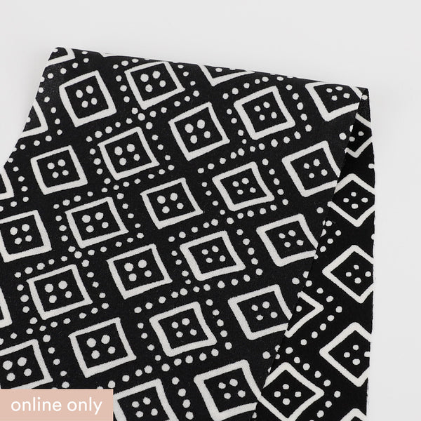 Dotted Diamond Stretch Silk - Black