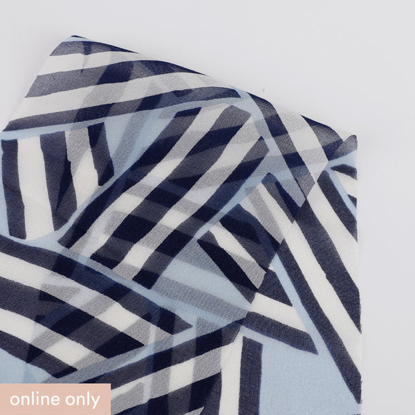 Stripe Jumble Silk Georgette - Blue