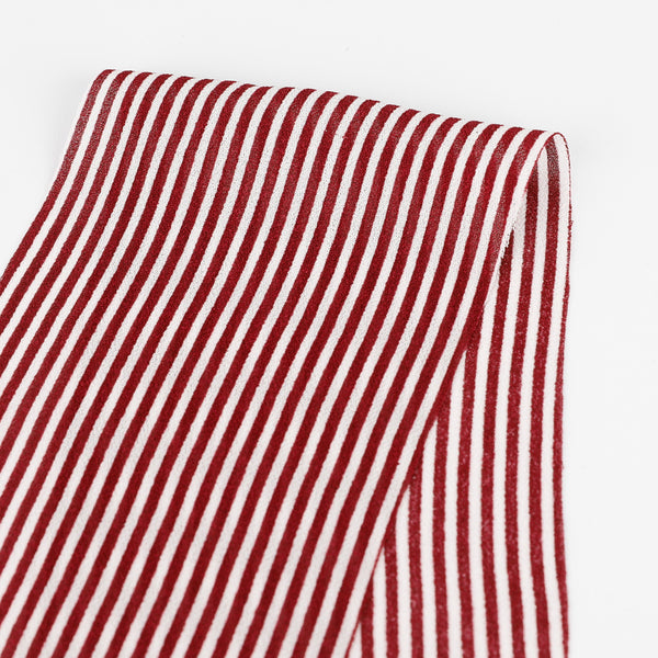 Candy Stripe Viscose Georgette - Maroon